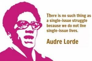 Montage mit Porträt und Zitat von Audre Lorde