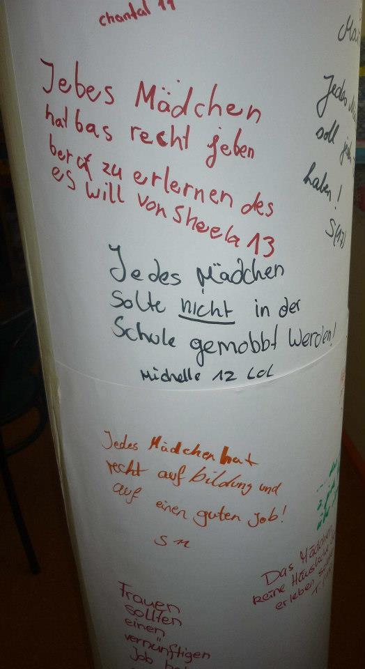 Wünsche der Mädchen zum Weltmaedchentag 2012